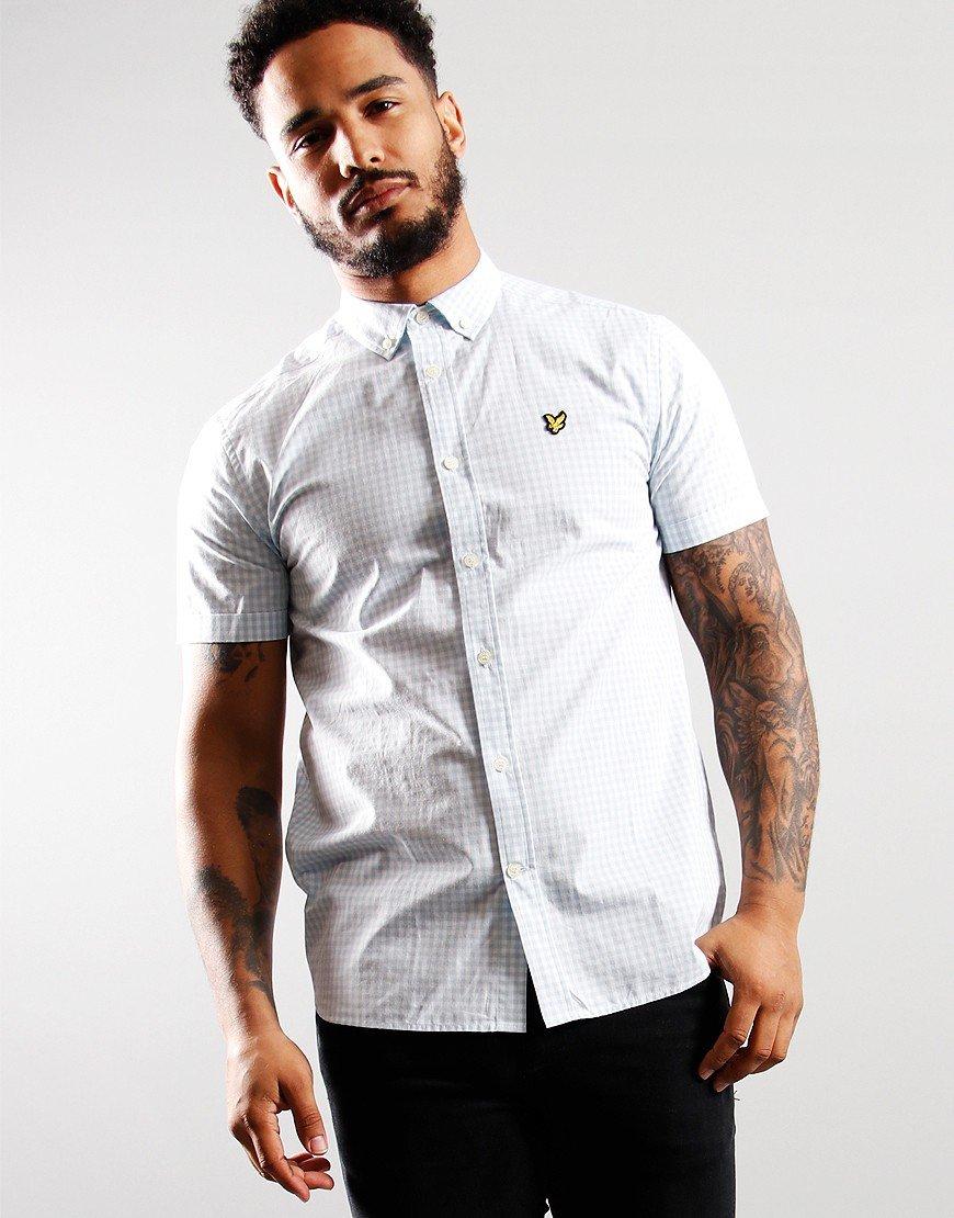 Lyle & Scott Short Sleeved Gingham Shirt Deck Blue/White