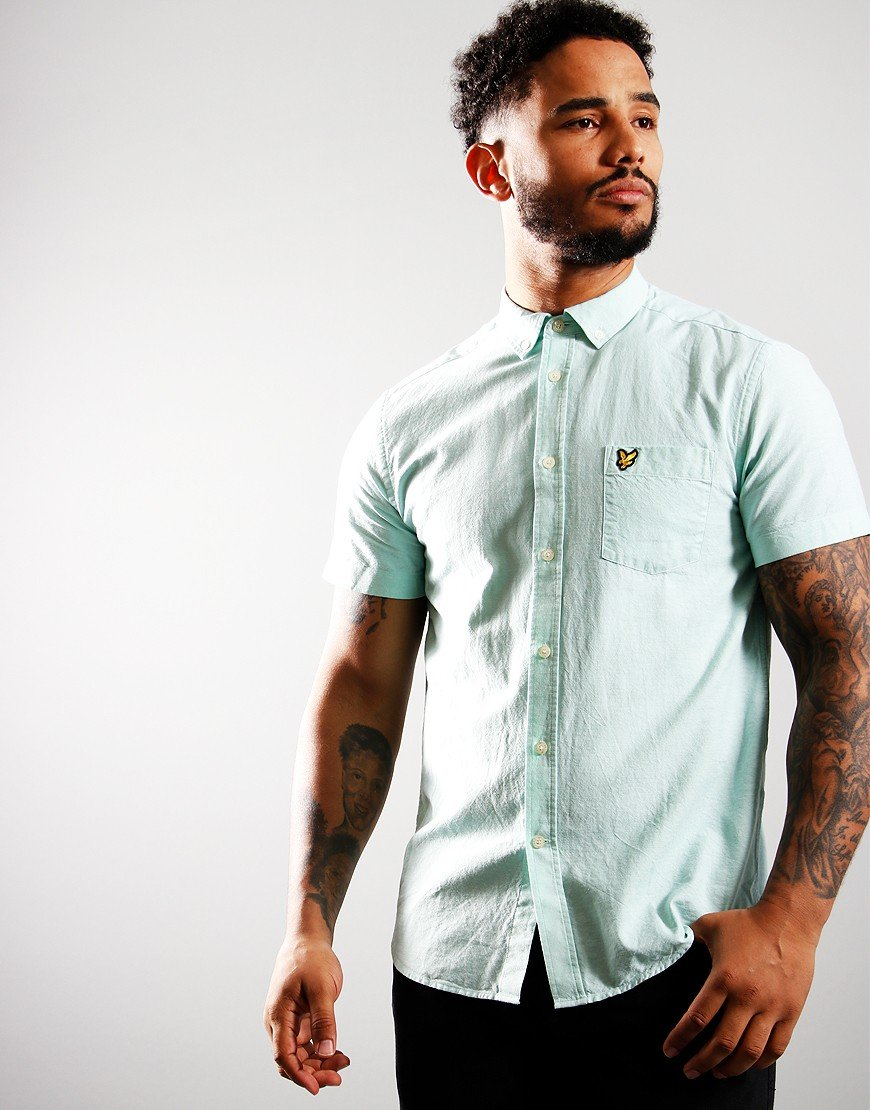Lyle & Scott Short Sleeve Oxford Shirt Sea Mint/White