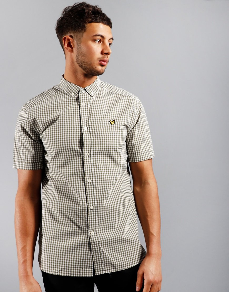Lyle & Scott Gingham Shirt Lichen Green/White