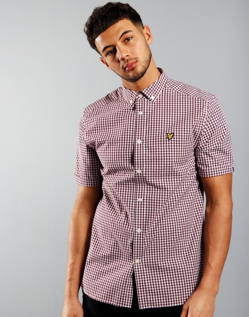 Lyle & Scott Gingham Shirt Merlot/White