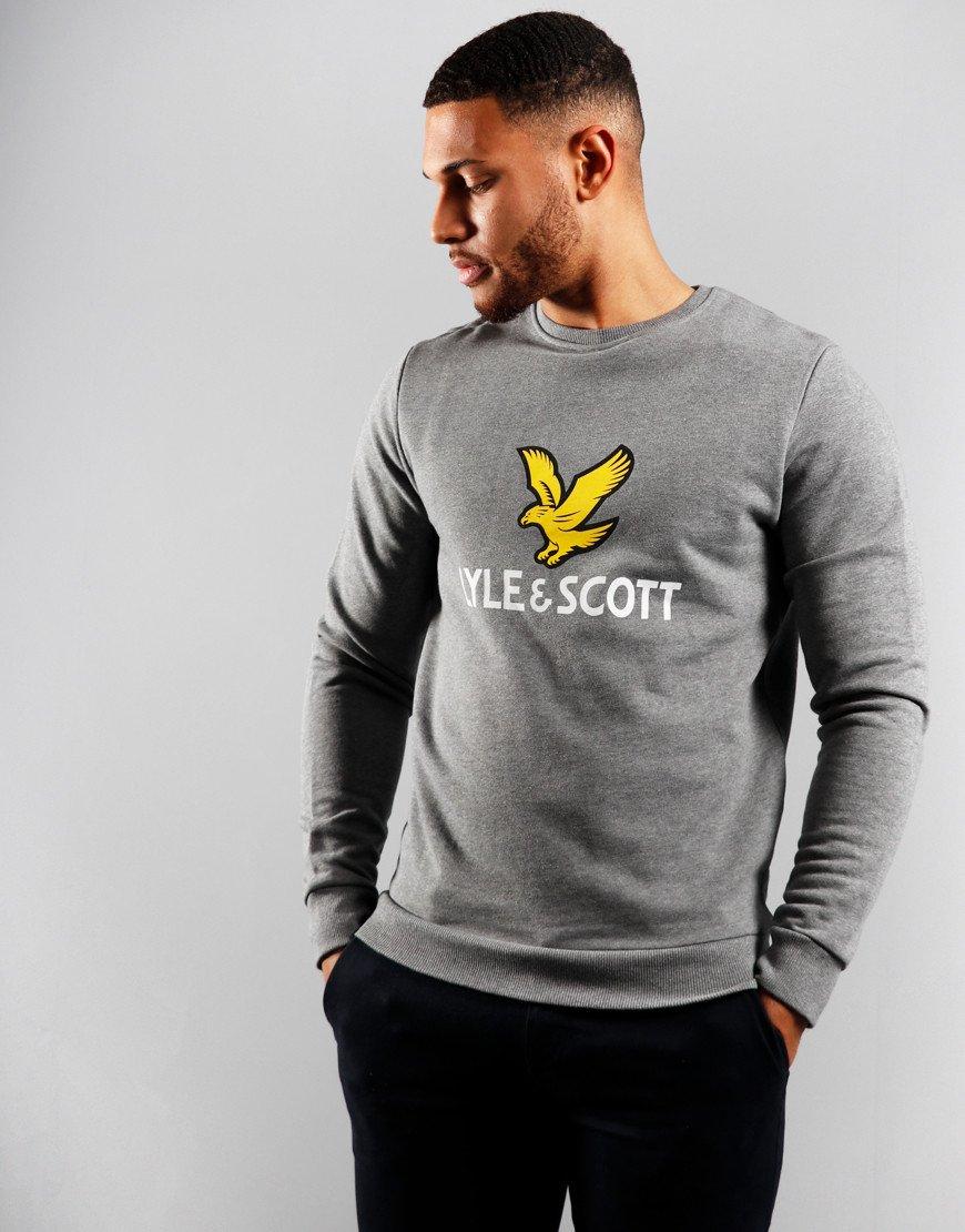 Lyle & Scott Logo Crew Neck Sweat Mid Grey Marl