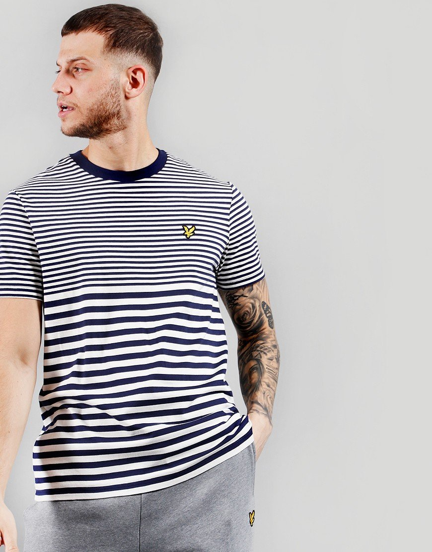 Lyle & Scott Multi Stripe T-Shirt Navy/Vanilla Ice