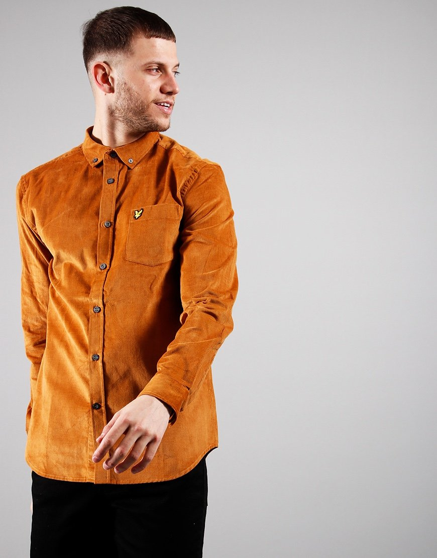 Lyle & Scott Needle Cord Shirt Caramel