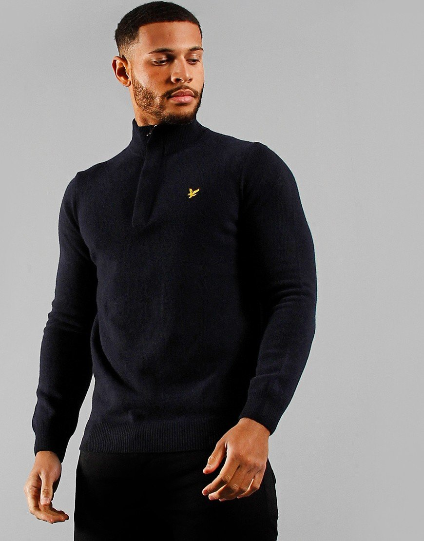 Lyle & Scott 1/4 Zip Funnel Neck Jumper Dark Navy