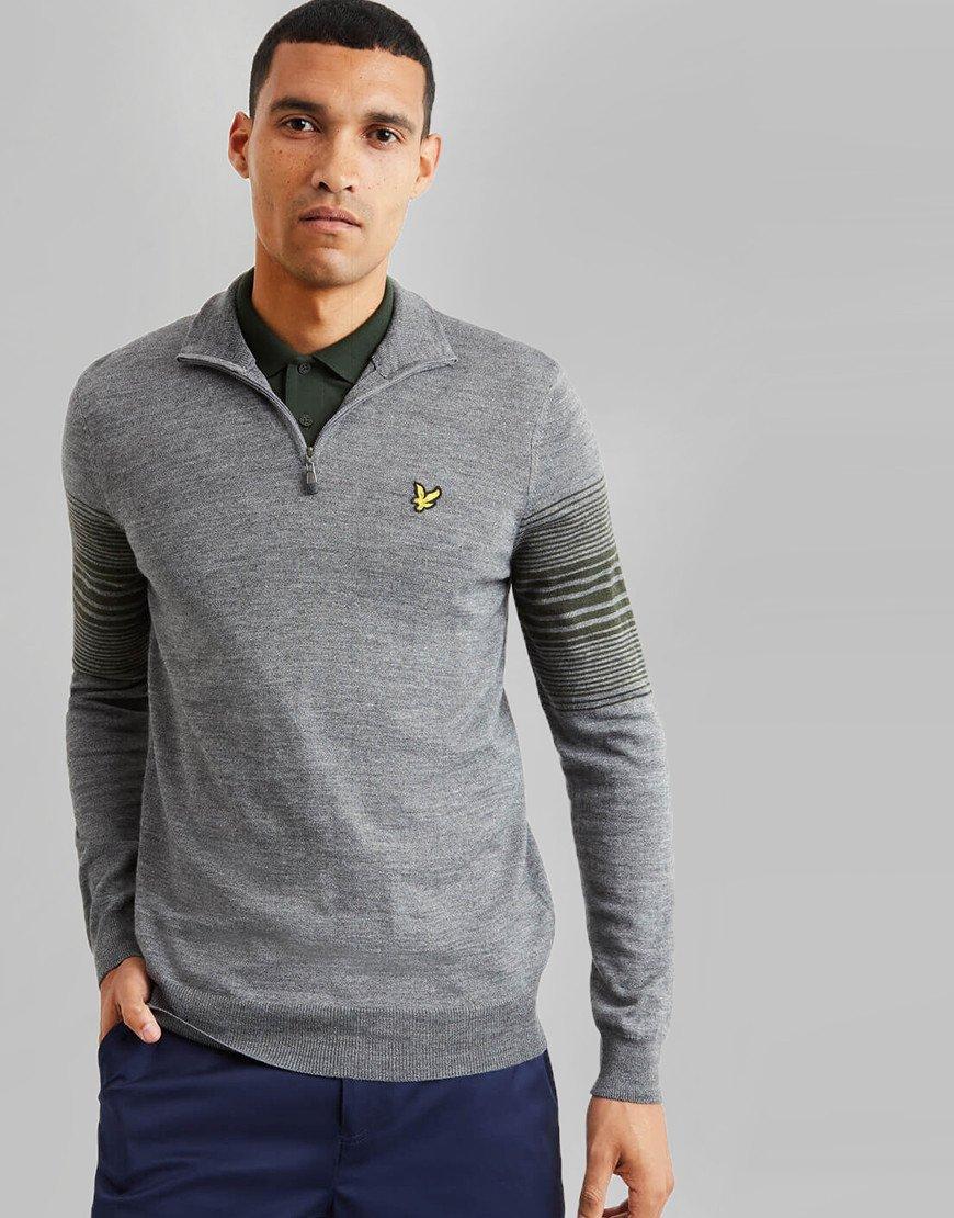 Lyle & Scott Golf Stripe 1/4 Zip Knit Mid Grey/Spruce