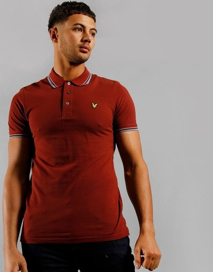 Lyle & Scott Tipped Polo Shirt Brick Red/Blue Dust