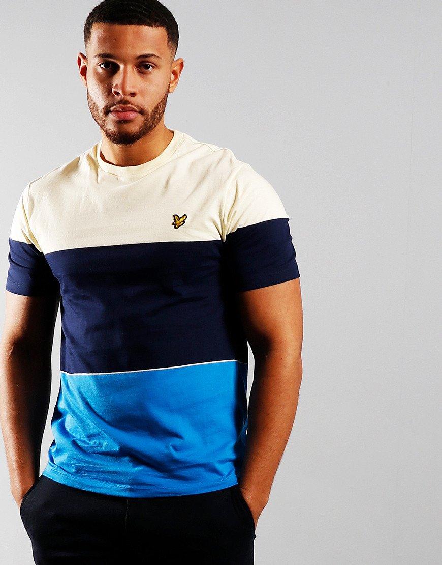 Lyle & Scott Wide Multi Stripe T-Shirt Bight Royal Blue/Buttercream