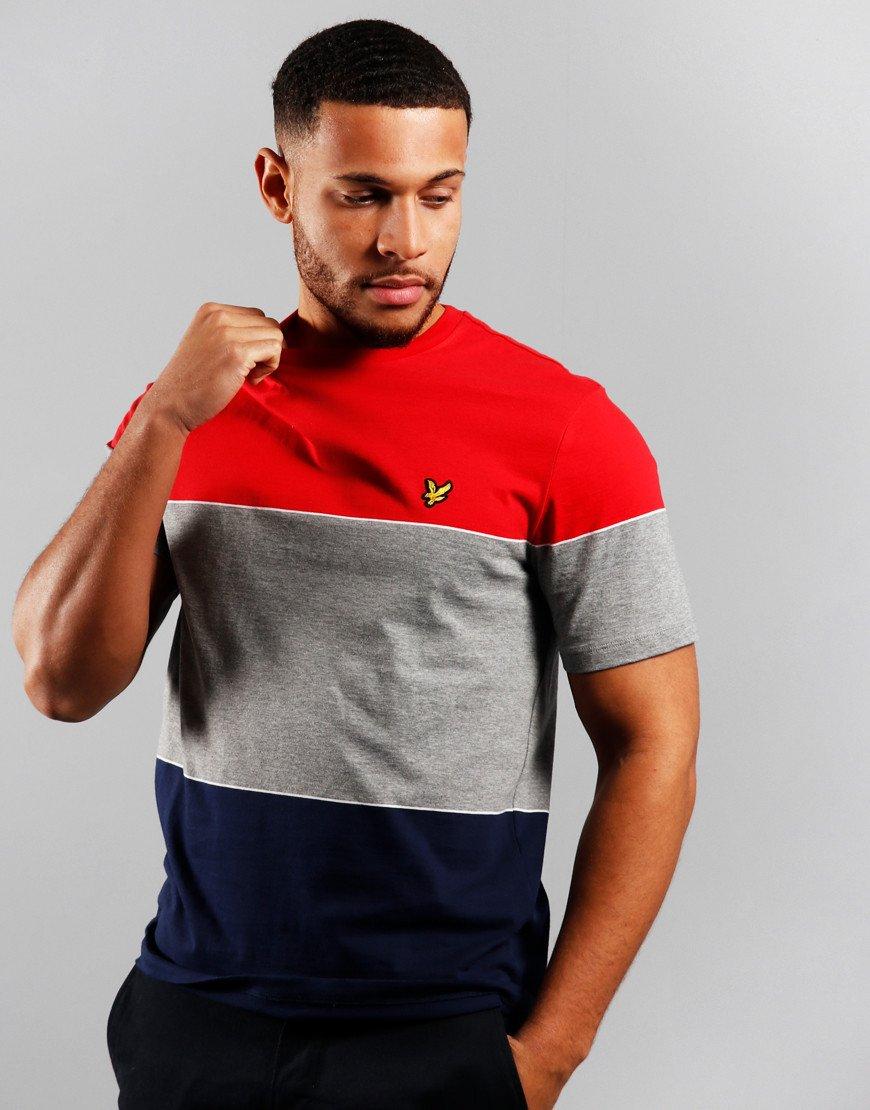 Lyle & Scott Wide Multi Stripe T-Shirt Gala Red/Navy