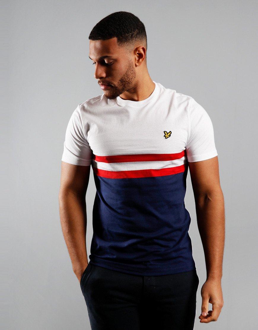 Lyle & Scott Yoke Stripe T-Shirt White/Navy