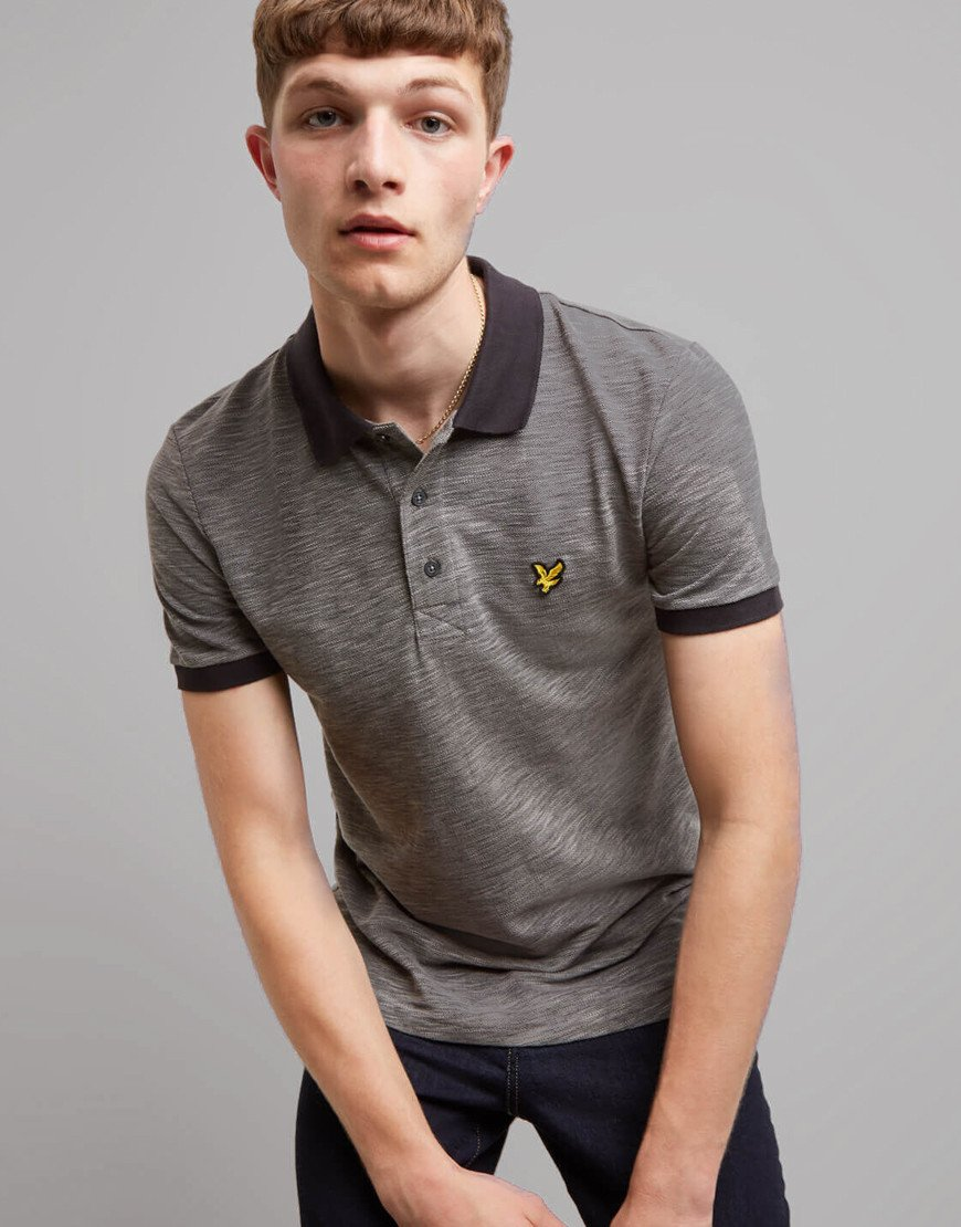 Lyle & Scott Space Dye Polo Shirt Dark Grey