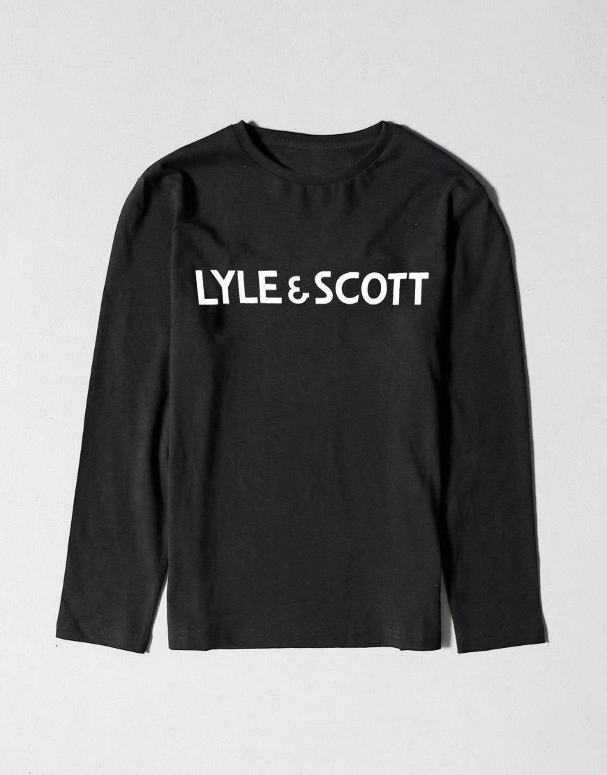 Lyle & Scott Junior Long Sleeve Text T-shirt Black