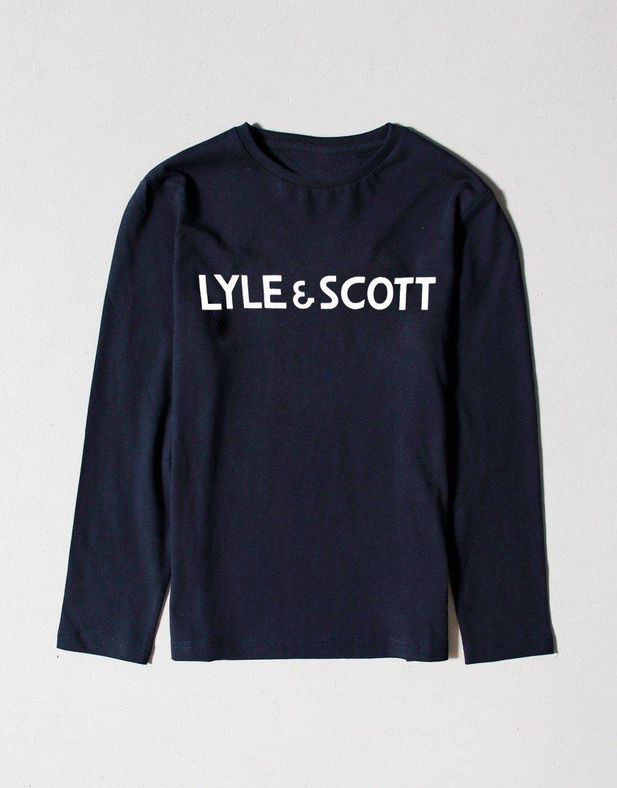 Lyle & Scott Junior Long Sleeve Text T-shirt Navy