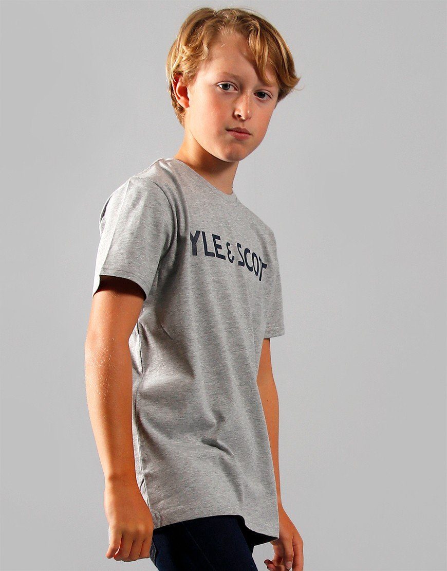 Lyle & Scott Junior Text T-Shirt Vintage Grey Heather