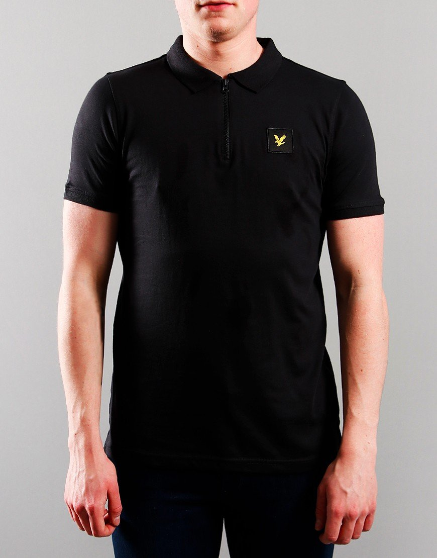 Lyle & Scott Junior Zip Detail Polo Shirt Black