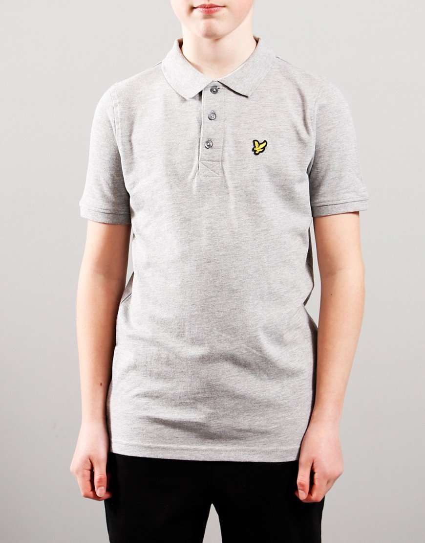 Lyle & Scott Junior Classic Plain Polo Shirt Vintage Grey Heather