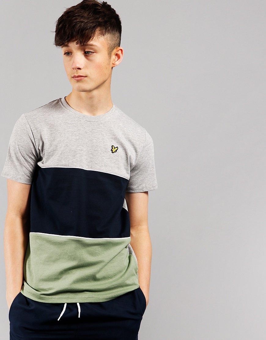 Lyle & Scott Junior Wide Stripe T-Shirt Vintage Grey Heather