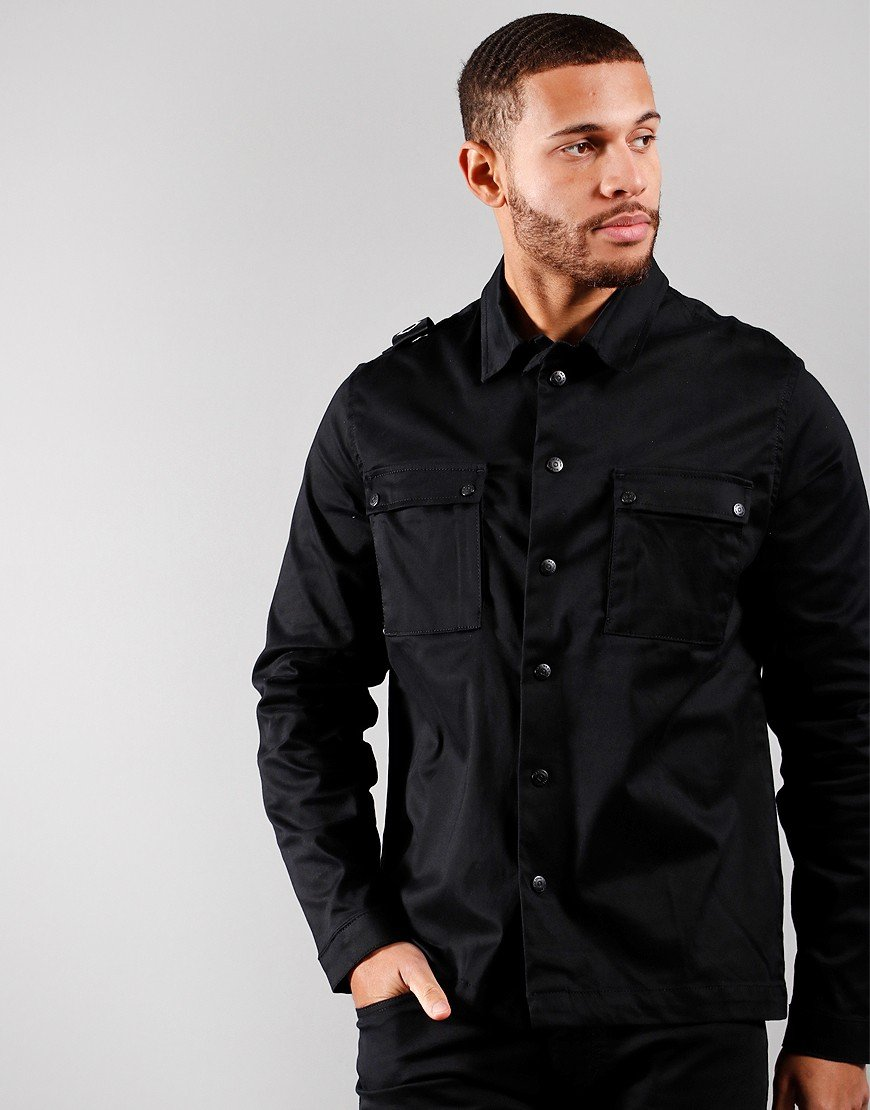 MA.Strum DH 2 Pocket Hooded Overshirt Black