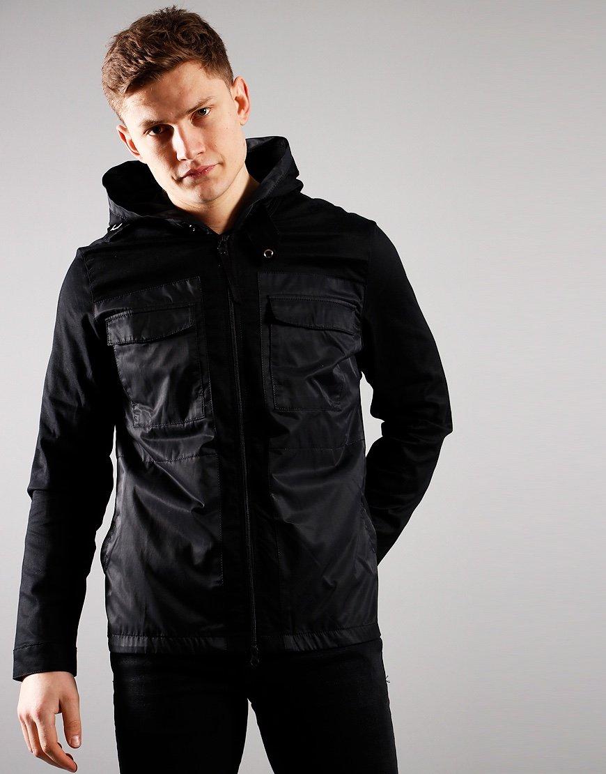 MA.Strum Hooded Panel Overshirt Black