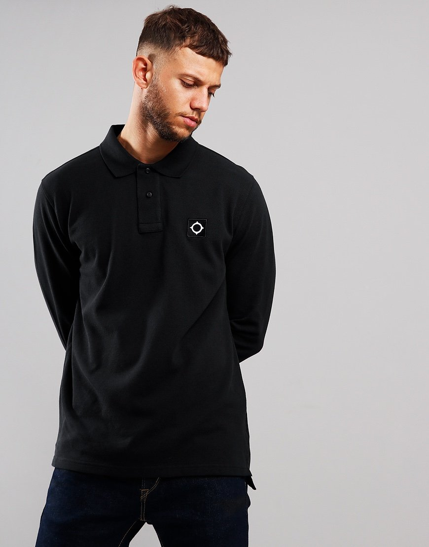 MA.Strum Long Sleeve Piqué Polo Shirt Jet Black