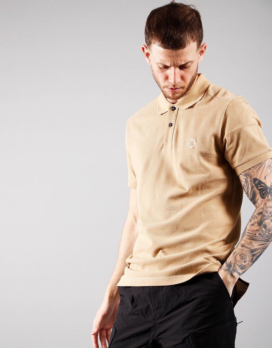MA.Strum Short Sleeved Pique Polo Shirt Sand