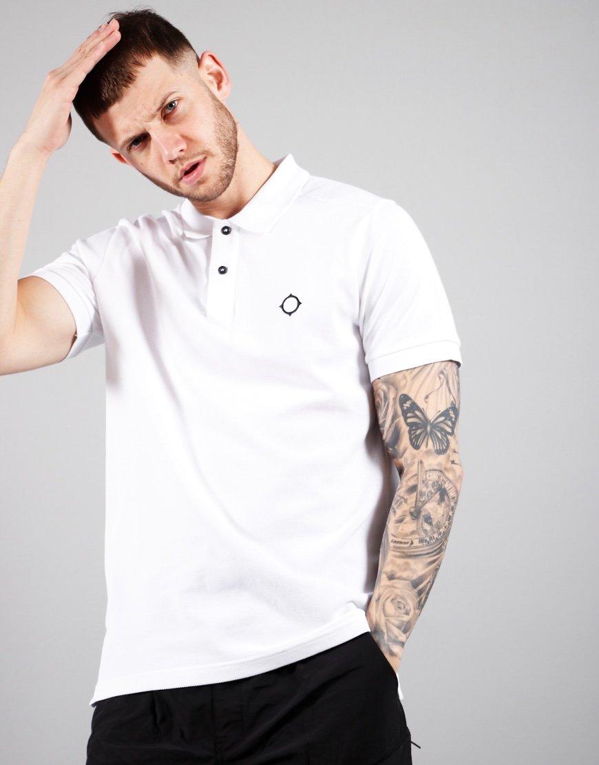 MA.Strum Short Sleeved Pique Polo Shirt Optic White