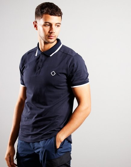 MA.Strum Short Sleeved Jersey Polo Shirt Ink Navy