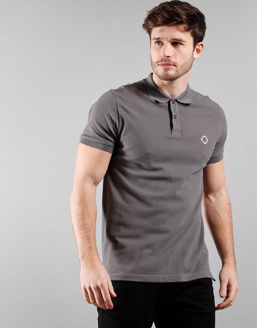 MA.Strum Short Sleeved Pique Polo Shirt Dark Slate