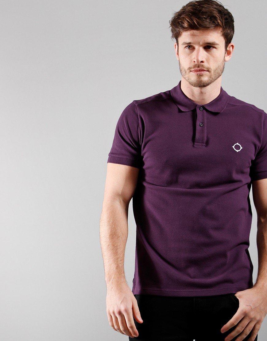 MA.Strum Short Sleeved Pique Polo Shirt Aubergine