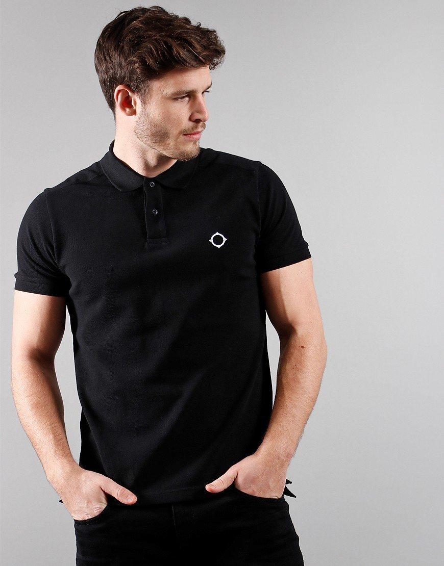 MA.Strum Short Sleeved Pique Polo Shirt Black
