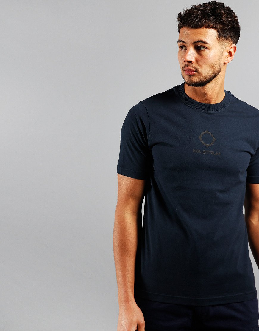 MA.Strum Garment Dyed Logo T-Shirt True Navy