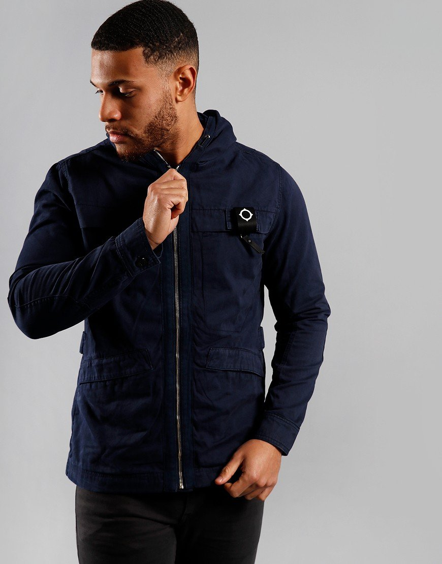 MA.Strum Hooded Garment Dyed Jacket True Navy