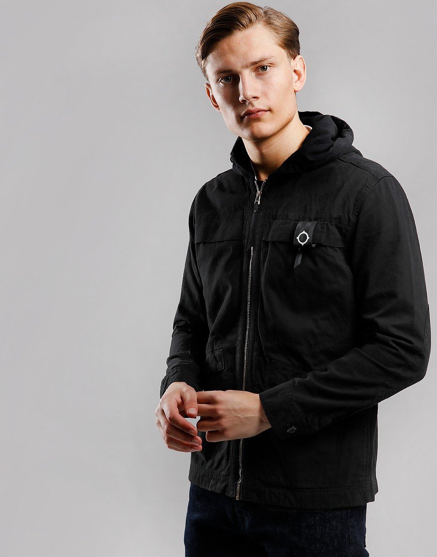 MA.Strum Hooded Garment Dyed Jacket Jet Black