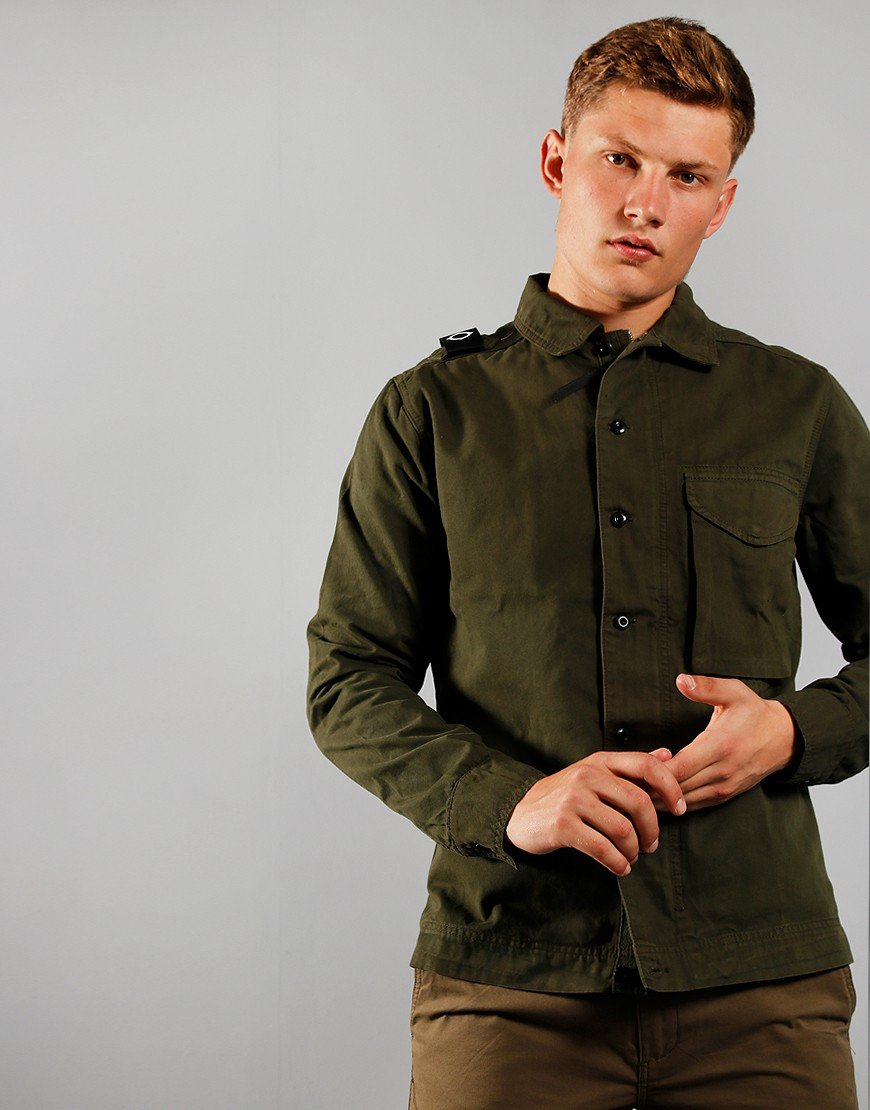 MA.Strum Garment Dyed Overshirt Dark Khaki Green