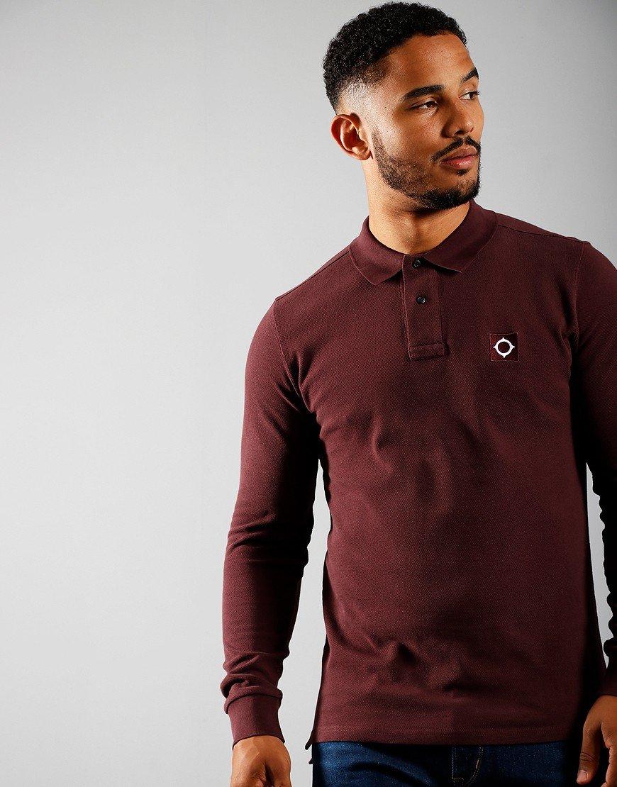 MA.Strum Long Sleeve Piqué Polo Shirt Cordovan