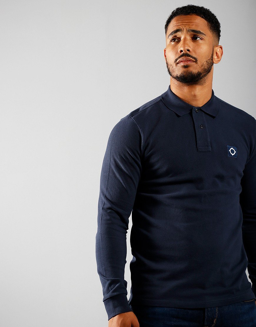 MA.Strum Long Sleeve Piqué Polo Shirt True Navy