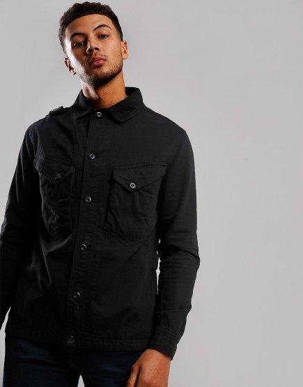 MA.Strum Garment Dyed Overshirt Jet Black