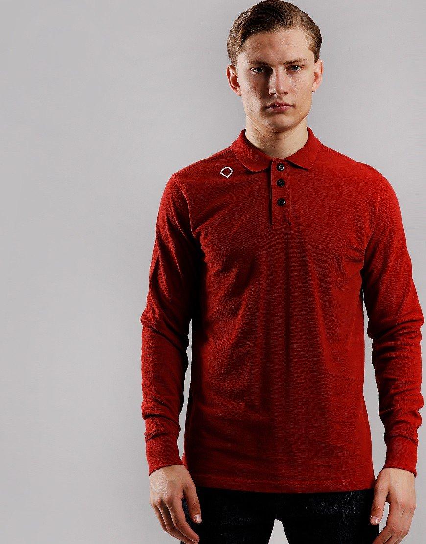 MA.Strum Long Sleeve Piqué Polo Shirt Dusk Orange