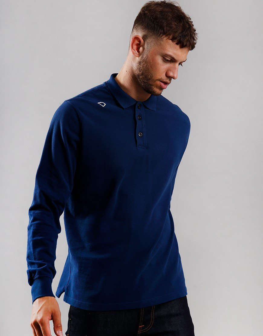 MA.Strum Long Sleeve Pique Polo Shirt Northern Blue
