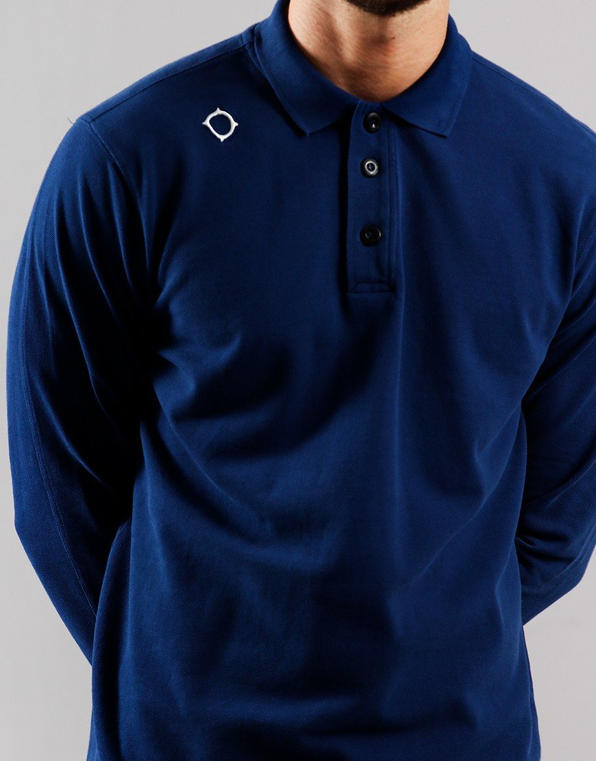MA.Strum Long Sleeve Pique Polo Shirt Northern Blue