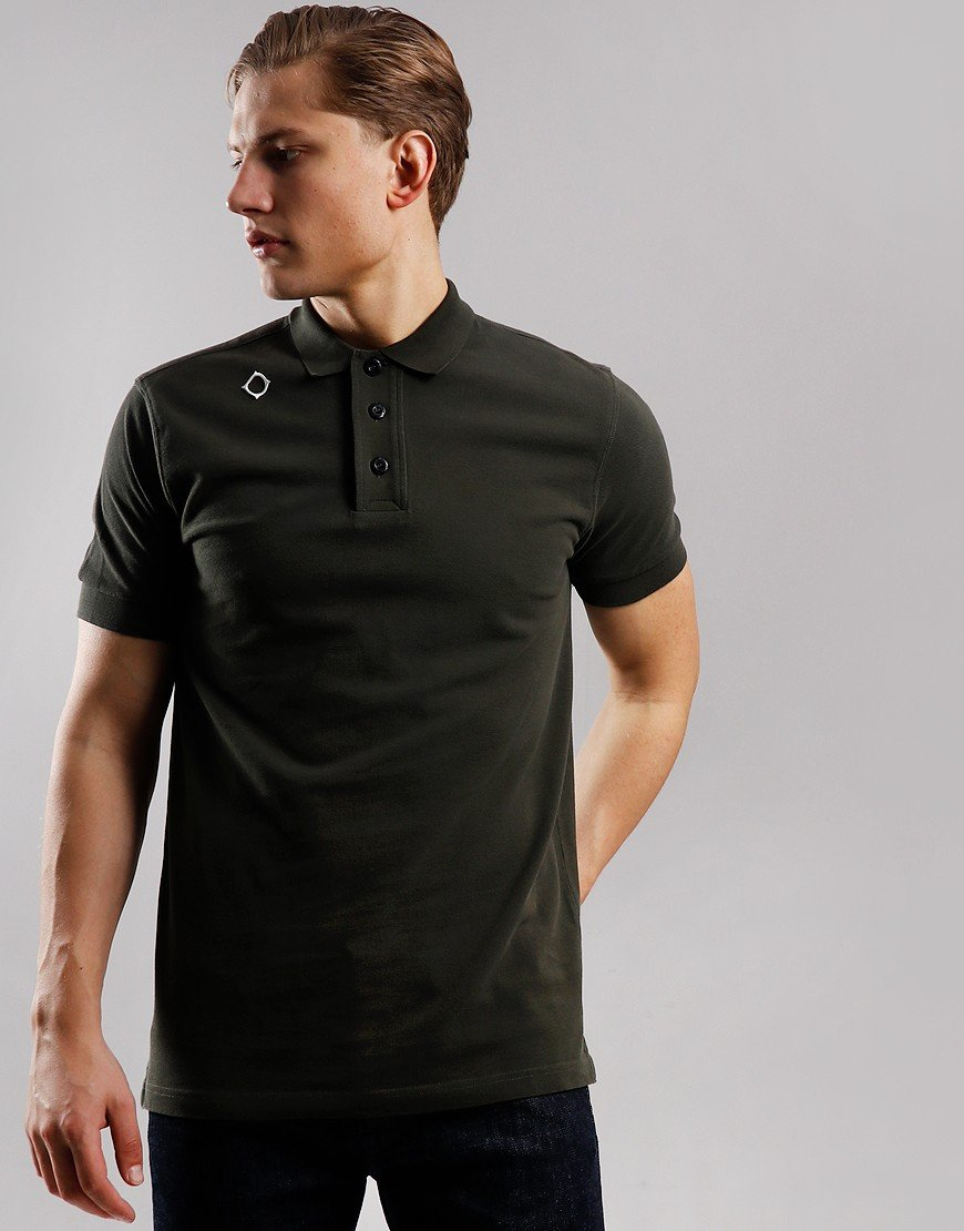 MA.Strum Pique Polo Shirt Dark Khaki Green