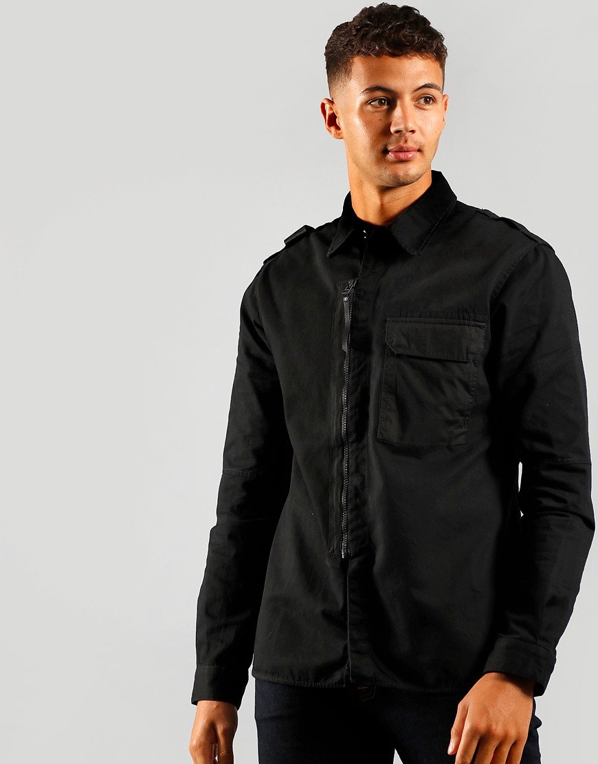 MA.Strum Zip Front Overshirt Jet Black
