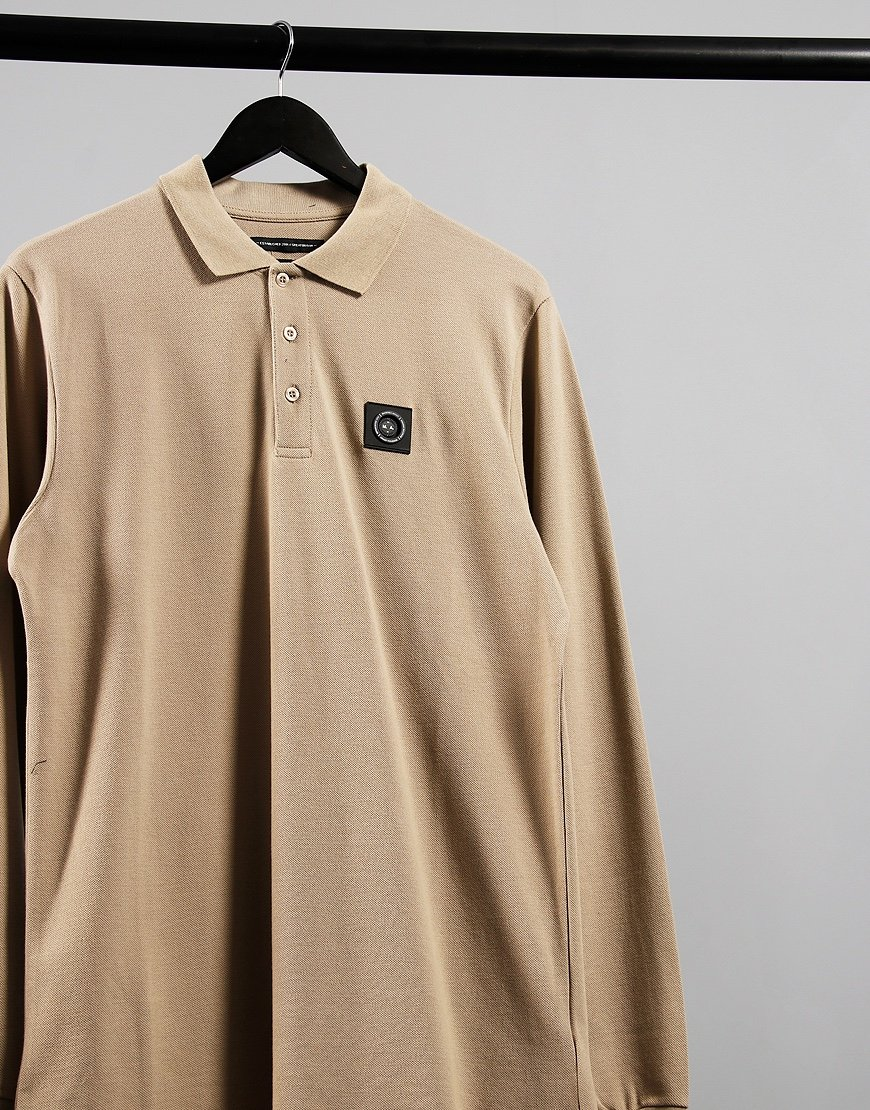 Marshall Artist Siren Long Sleeve Polo Shirt Grey Stone