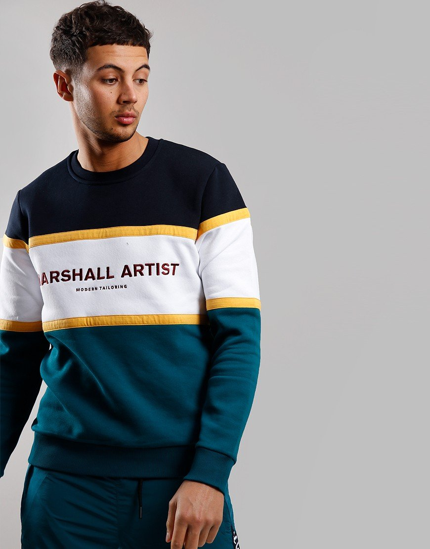 Marshall Artist Crown Heights Crew Neck Sweat Navy/Teal