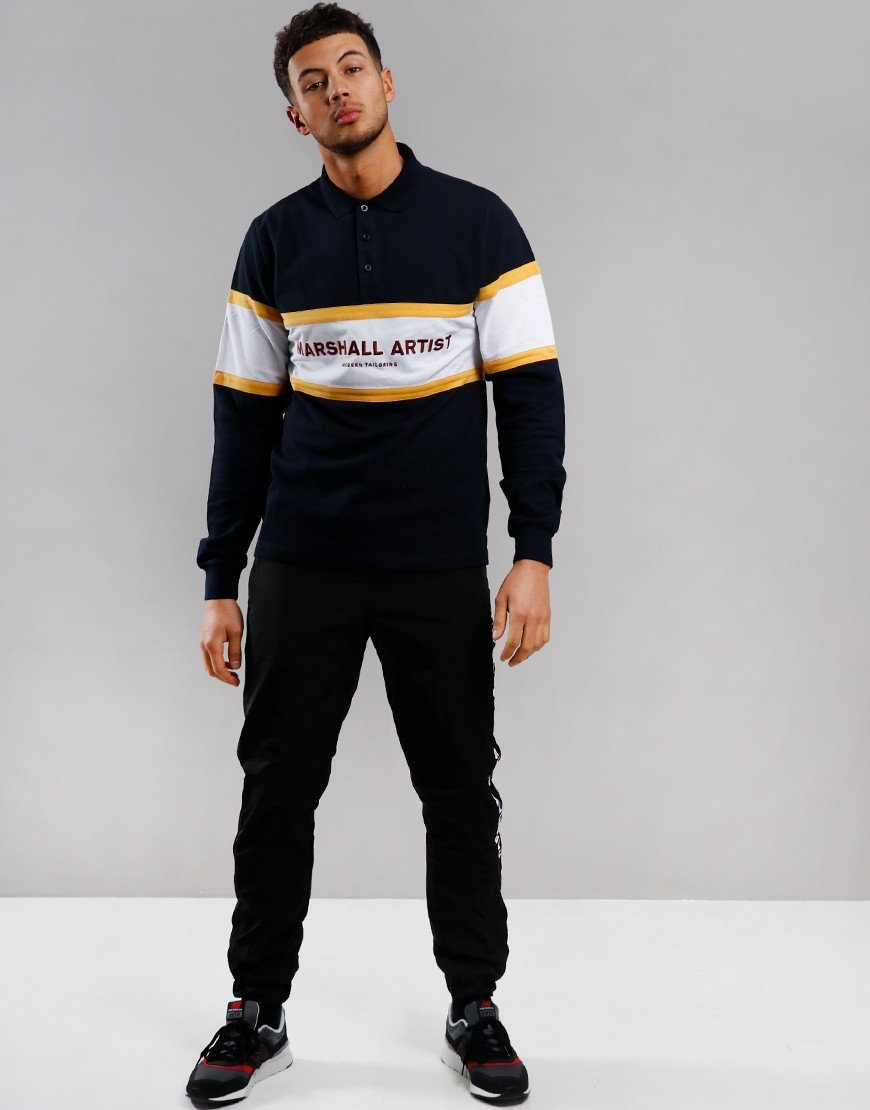 Marshall Artist Crown Heights Long Sleeve Polo Shirt Navy