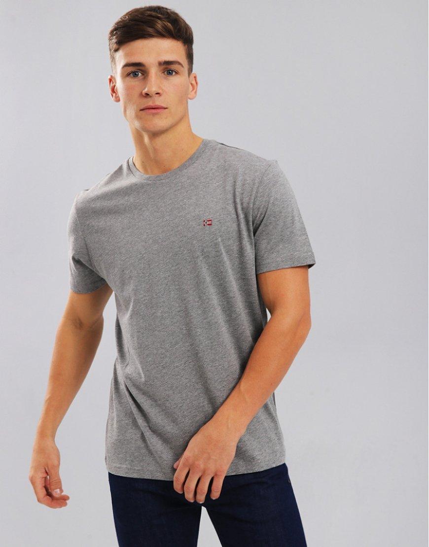 Napapijri Senoos Crew Neck T-Shirt Mid Grey Marl