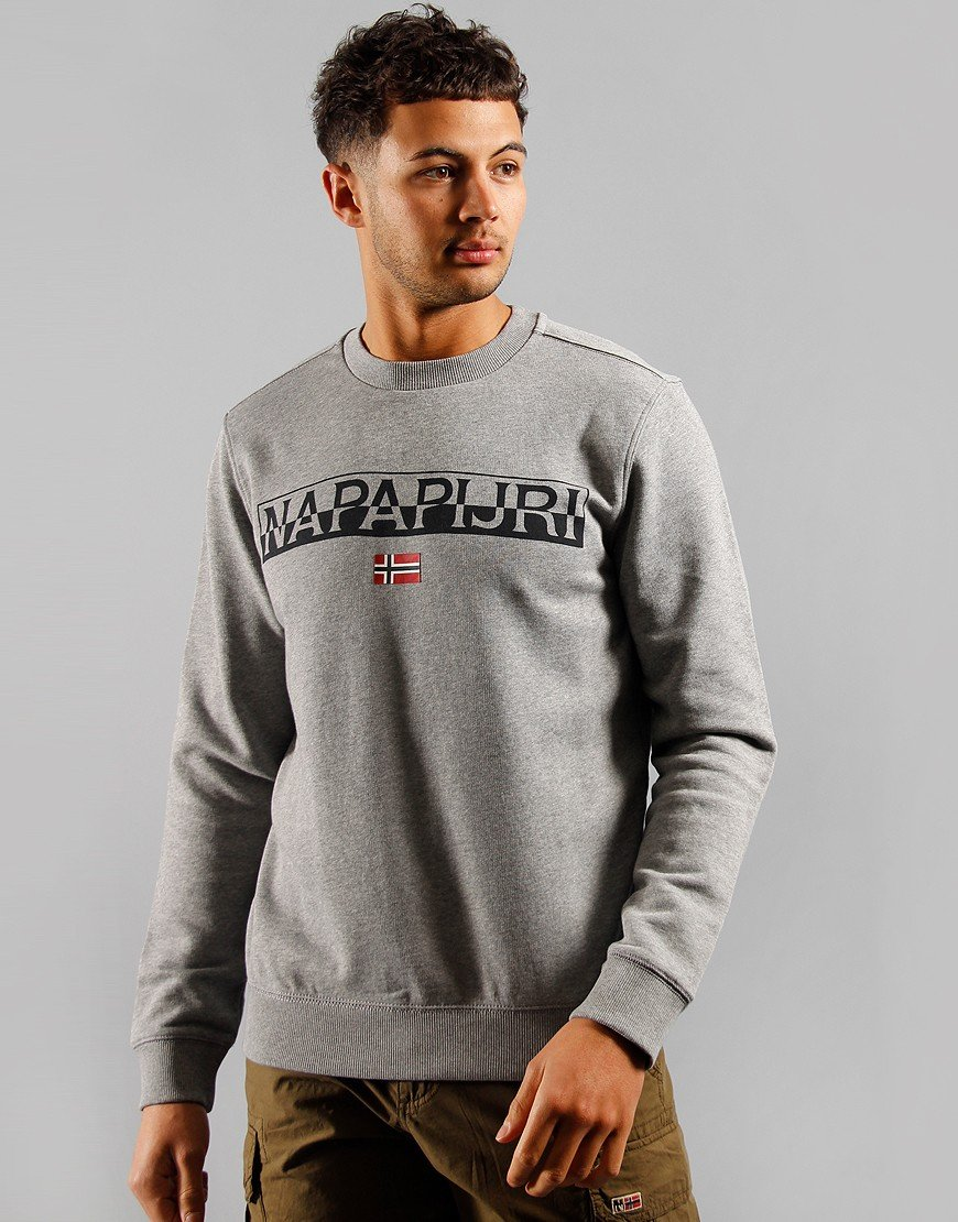 Napapijri Baras Crew Neck Sweat Mid Grey Melange