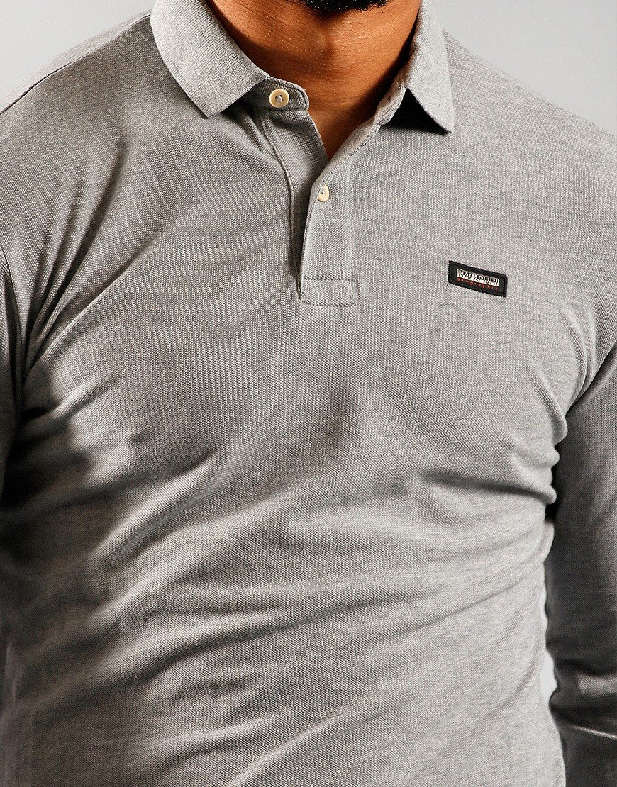 Napapijri Ebir Long Sleeve Polo Medium Grey Melange