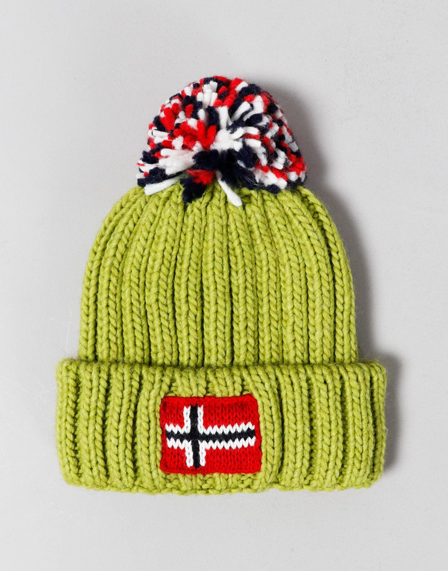 Napapijri Kids Semiury Bobble Hat Yellow Lime