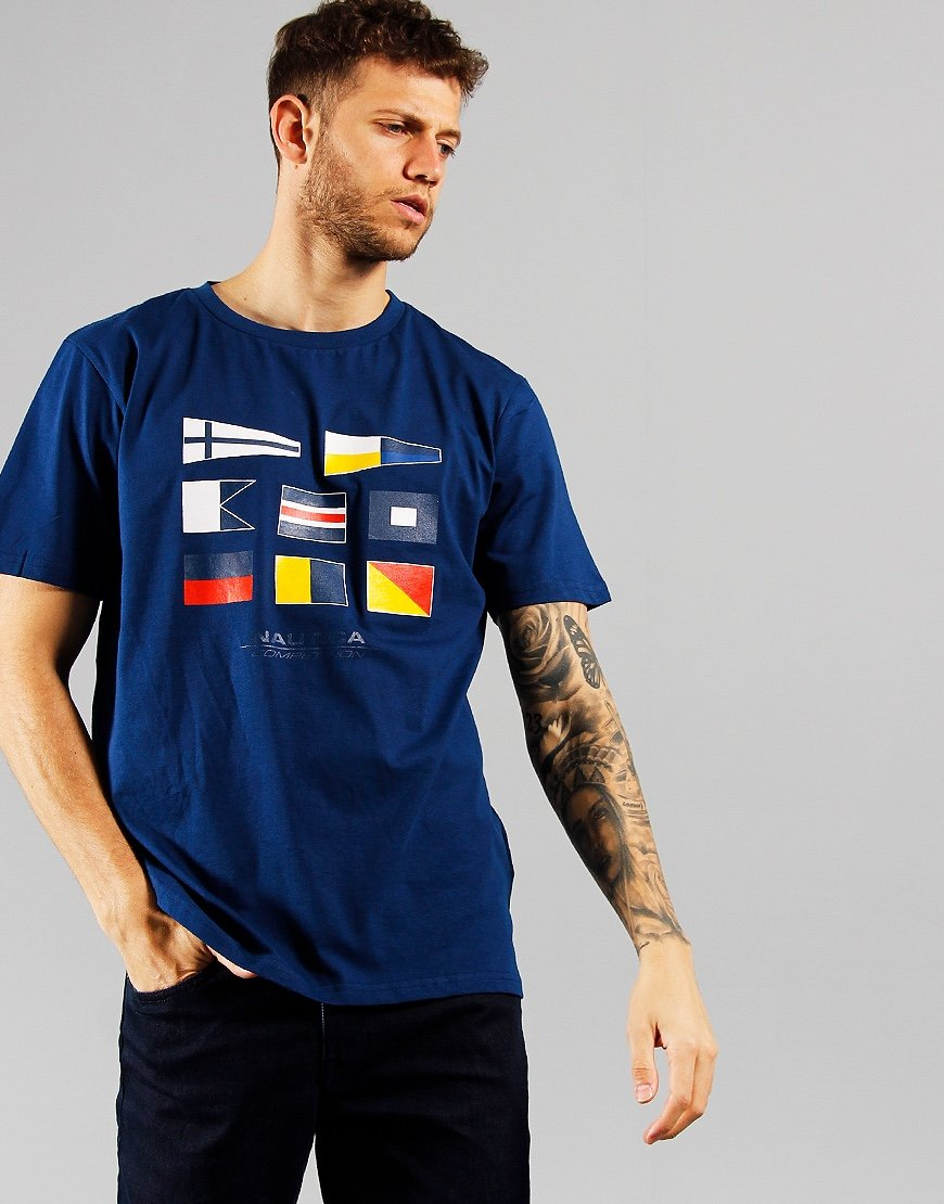 Nautica Competition Henry Flag Print T-shirt Navy