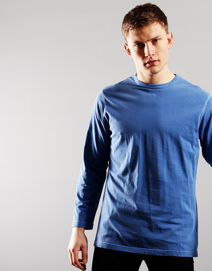 Nigel Cabourn Long Sleeve Crew T-Shirt Washed Blue